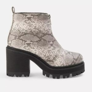 Missguided Snake Print Chunky Heeled Ankle Boot, 9